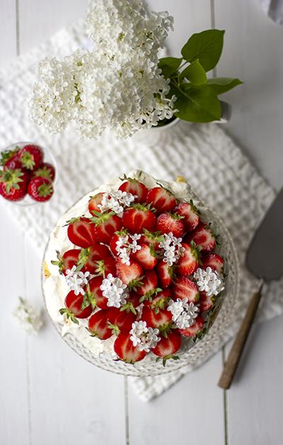 Spiralkake med jordbær